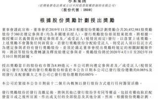 小米宣布股权激励:奖励380员工1.63亿 人均43万
