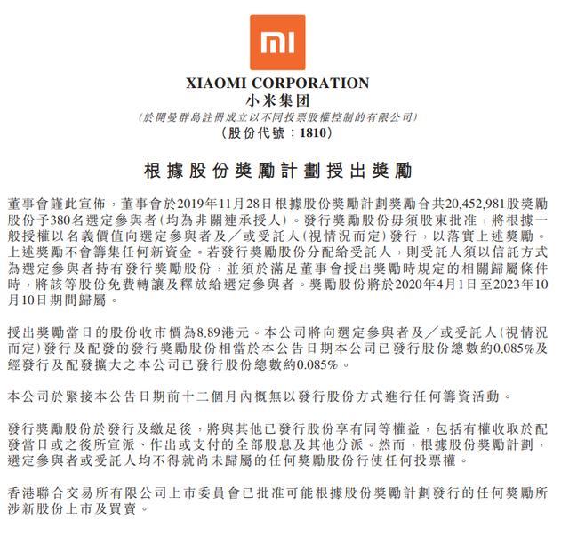小米宣布股权激励:奖励380员工1.63亿 人均43万-第1张图片-IT新视野